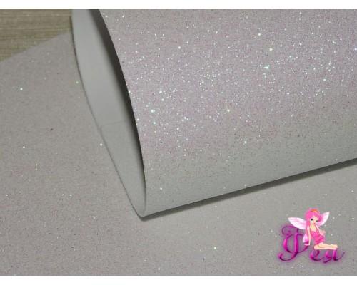 Фоамиран глиттерный, 2мм (20*30см), цв. белый - 1лист