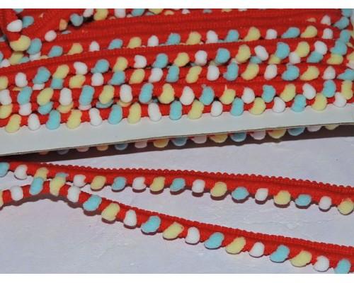 Тесьма с маленькими разноцветными помпонами, цв. красный - 1 м
