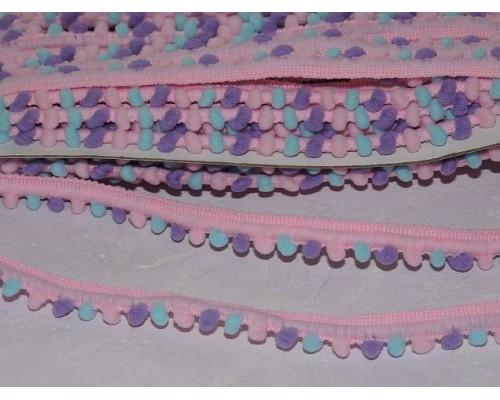 Тесьма с маленькими разноцветными помпонами, цв. розовый - 1 м