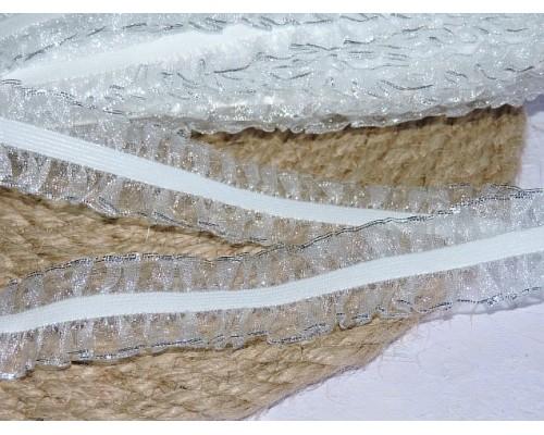 Тесьма на резинке с люрексом 25мм, цв. белый/серебро - 1 м
