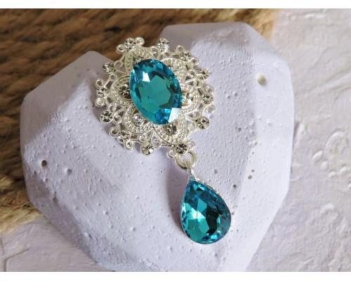 Серединка ювелирная с подвеской 4,5 см*2,5 см, цв. серебро/голубой - 1 шт