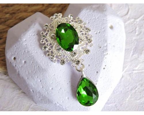 Серединка ювелирная с подвеской 4,5 см*2,5 см, цв. серебро/зеленый - 1 шт