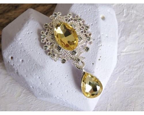 Серединка ювелирная с подвеской 4,5 см*2,5 см, цв. серебро/светлое-золото- 1 шт
