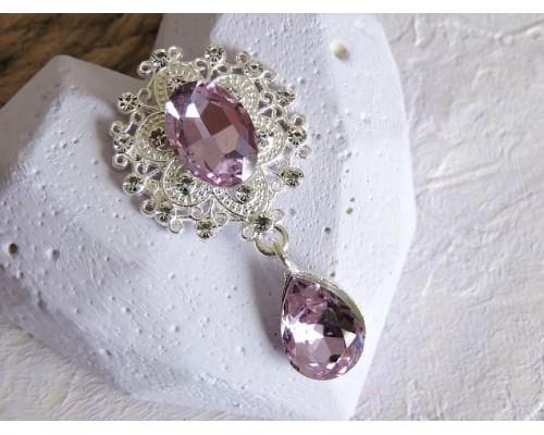 Серединка ювелирная с подвеской 4,5 см*2,5 см, цв. серебро/фиолетовый - 1 шт