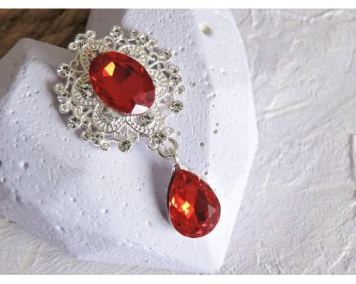 Серединка ювелирная с подвеской 4,5 см*2,5 см, цв. серебро/красный - 1 шт