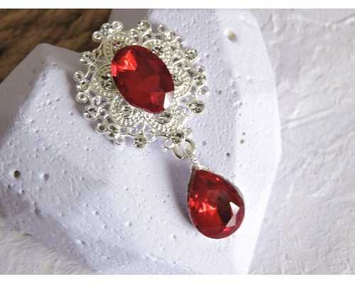 Серединка ювелирная с подвеской 4,5 см*2,5 см, цв. серебро/темно-красный - 1 шт
