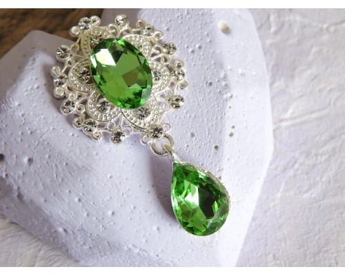 Серединка ювелирная с подвеской 4,5 см*2,5 см, цв. серебро/светло-зеленый - 1 шт
