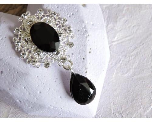 Серединка ювелирная с подвеской 4,5 см*2,5 см, цв. серебро/черный - 1 шт
