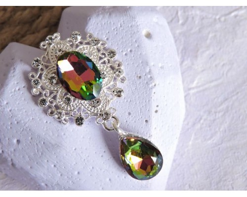 Серединка ювелирная с подвеской 4,5 см*2,5 см, цв. серебро/зеленый хамелеон - 1 шт