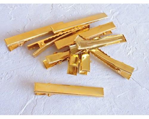 Зажим для волос металл 45 мм, цв. золото - 1 шт