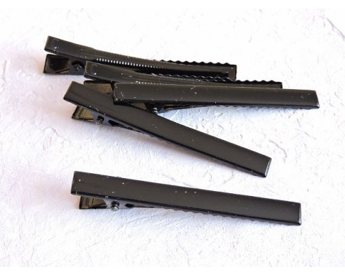 Зажим для волос металл 75 мм, цв.  черный - 1 шт