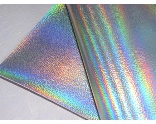Кожзам текстурный металлик, цв. серебро-голографик