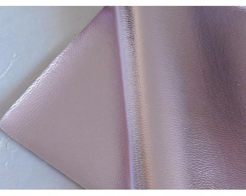 Кожзам текстурный металлик, цв. светло-розовый