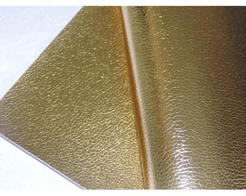 Кожзам текстурный металлик, цв. золото