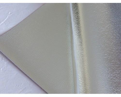 Кожзам текстурный металлик, цв. серебро
