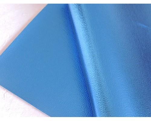 Кожзам текстурный металлик, цв. синий