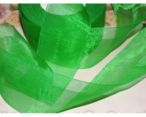 Органза однотонная 50 мм, цв. зеленый - 1 м