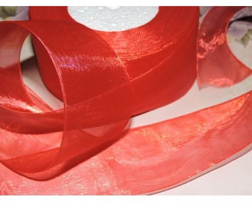 Органза однотонная 50 мм, цв.  красный - 1 м