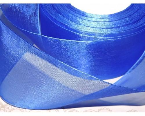 Органза однотонная 50 мм, цв.  синий - 1 м