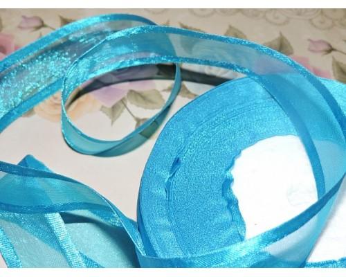 Органза с атласом 25мм, цвета насыщенно голубой  - 1м