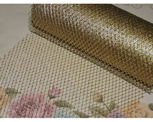 Сетка декоративная 15 см, цв. золото - 1 м