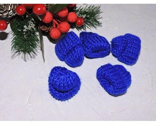 Шапочка вязаная 3,5*3,5 см, цв. синий - 1 шт.