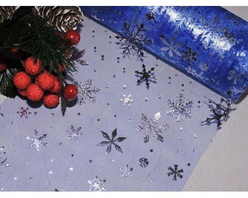 """Фатин """"Снежинки"""" 15 см, цв. синий/серебро - 1м."""