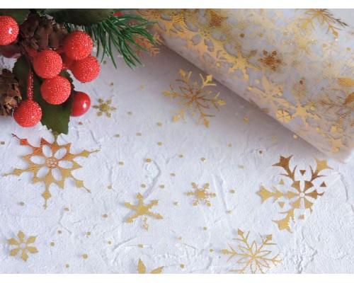 "Фатин ""Снежинки"" 15 см, цв. белый/золото - 1м."