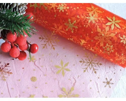 """Фатин """"Снежинки"""" 15 см, цв. красный/золото - 1м."""