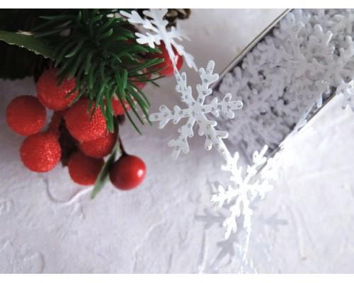 "Лента фигурная с блестками 25 мм ""Снежинки"", цв .белый/серебро - 1 м."