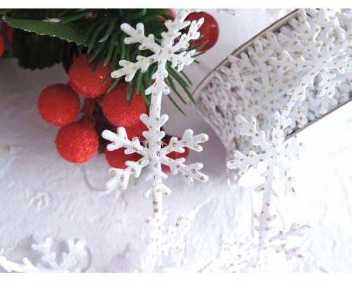 """Лента фигурная с блестками 25 мм """"Снежинки"""", цв .белый/золото - 1 м."""