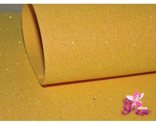 Фоамиран глиттерный, перламутровый 2мм (20*30см), цв. желтый