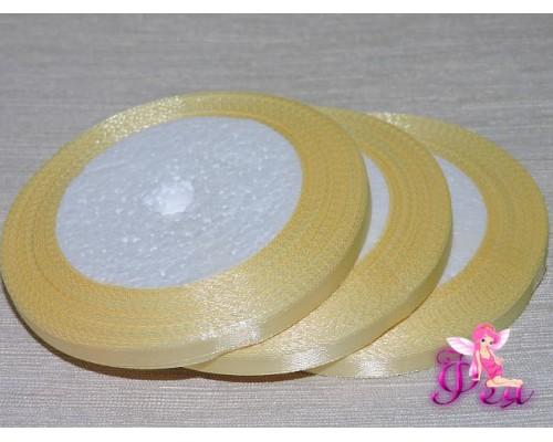 Атласная лента 6 мм, бледно-желтого цвета
