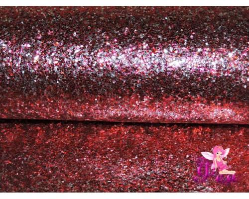 """Искусственная кожа """"Блестки-ламинация"""" 0.7 мм, цв. красно-белый"""
