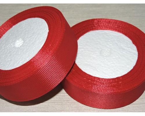 Однотонная репсовая лента 25 мм,  цв. бордовый -1 м