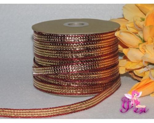 Лента декоративная 10 мм, цв. золотисто-красный