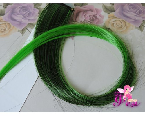 Цветная прядь градиент, 50 см, цв. черный-зеленый - 1 шт.