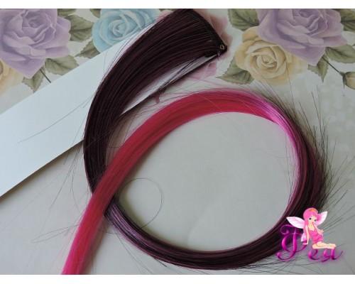 Цветная прядь градиент, 50 см, цв.  черный-ярко-розовый - 1 шт.