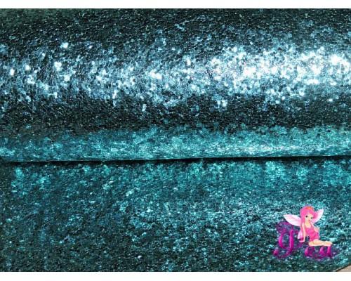 """Искусственная кожа """"Блестки-ламинация"""" 0.7 мм, цв. голубой"""