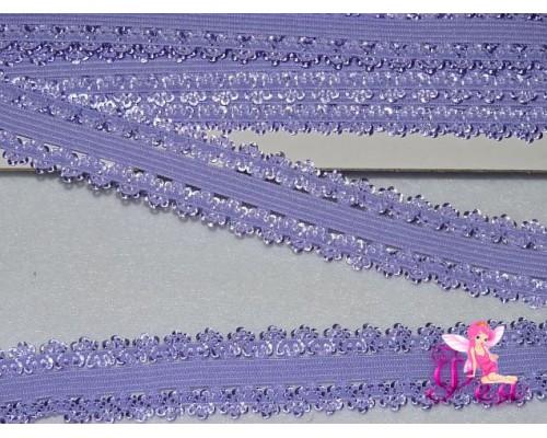 Тесьма-резинка с кружевом 2см, фиолетовый