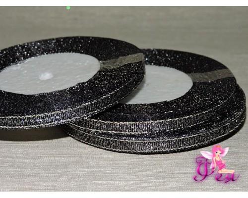 Парча 6мм *23м, цв. черный/серебро - 1м