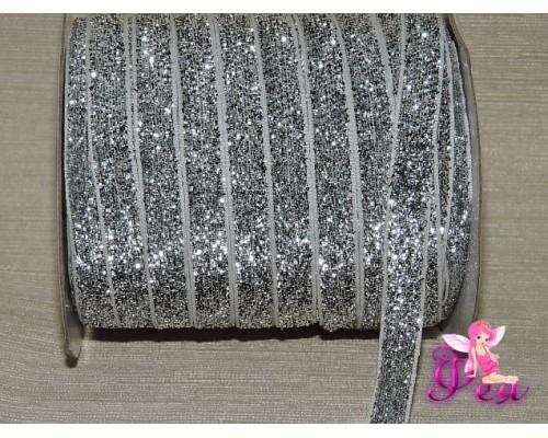 Бархатная лента 1см  с люрексом, цв. серебро/белый