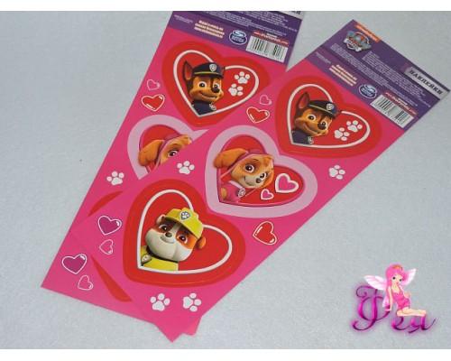 """Наклейки-валентинки """"Люблю друзей: Гончик, Скай и Крепыш"""" PAW PATROL.Размер упаковки: 8 см x 23,2 см"""
