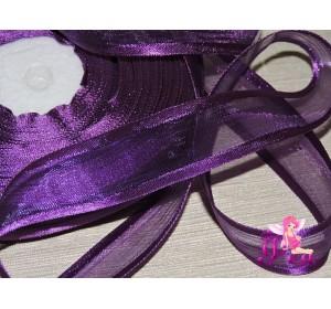 Органза с атласом 25мм,  фиолетового цвета - 1м