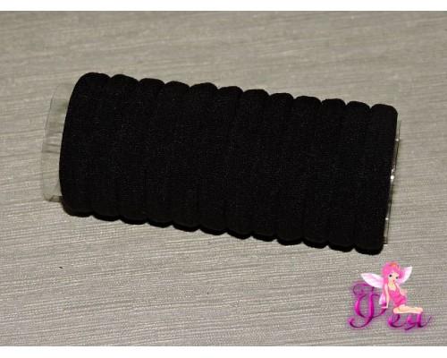 Бесшовные резинки для волос 4 см,  цв. черный в тубе 12 шт