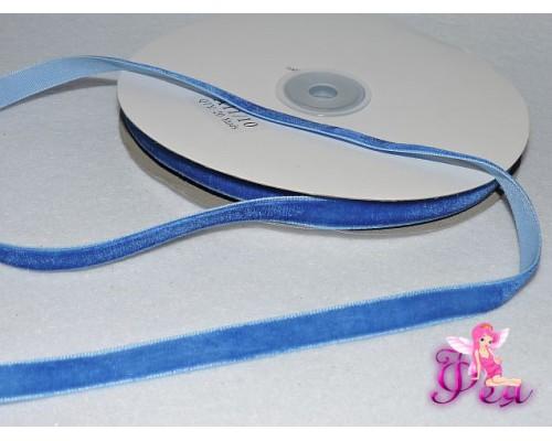 Бархатная лента 1см синего цвета