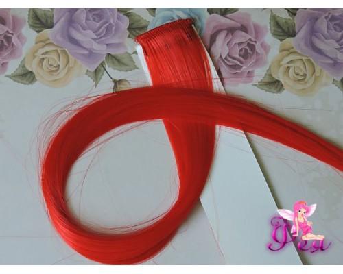 Цветная прядь, 50 см, цв. красный - 1 шт.
