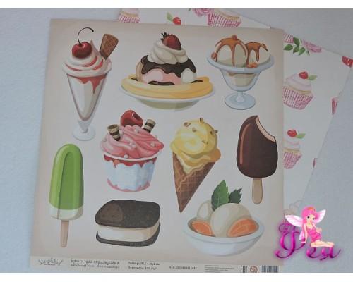 """Бумага для скрапбукинга, """"Ванильные и сладкие радости"""",Размер: 30,5 см х 30,5 см.  Плотность: 190 граммов."""