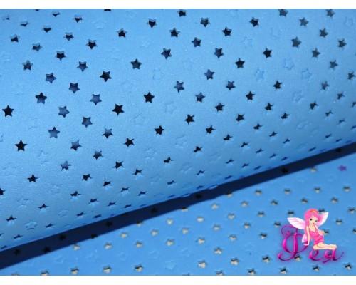 Фоамиран декоративный 2 мм (20*30 см), в  звездочки, цв. синий - 1 лист