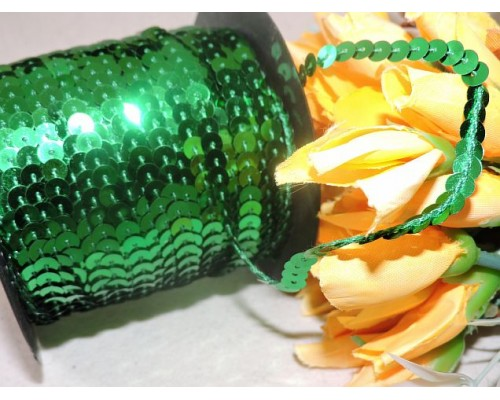 Пайетки на нитке 6мм, цв. зеленый 1 м
